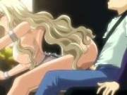 Busty blonde hentai hoe riding a massive dong in the balcony